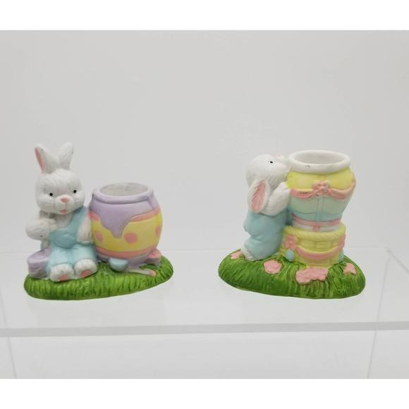 Vintage Bisque Porcelain Easter Bunny Tapered Candle Holders  egg rabbit set